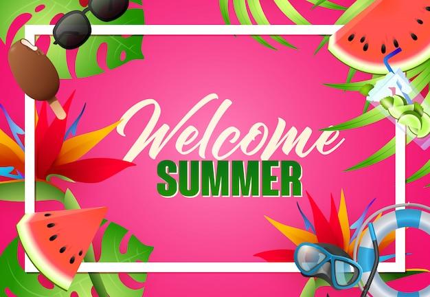 Bienvenido verano brillante diseño de carteles. máscara de buceo vector gratuito