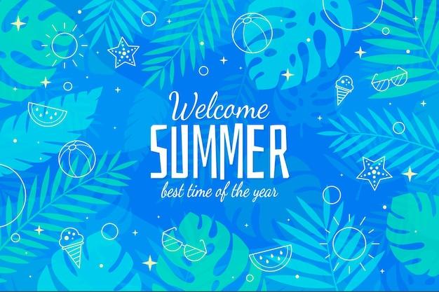 Bienvenido verano mejor temporada diseño plano fondo vector gratuito