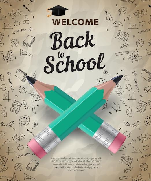 Bienvenido, de vuelta a la escuela, letras con lápices cruzados vector gratuito