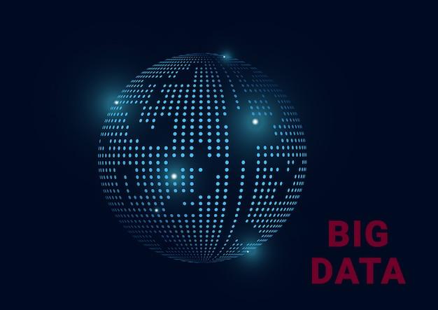Big data information planeta tierra Vector Premium