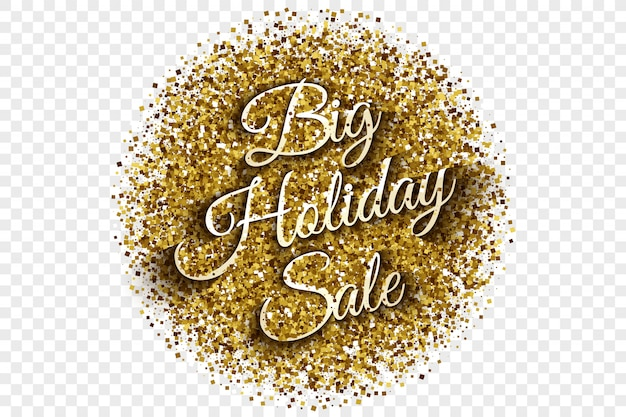 Big holiday sale golden tinsel vector illustration Vector Premium