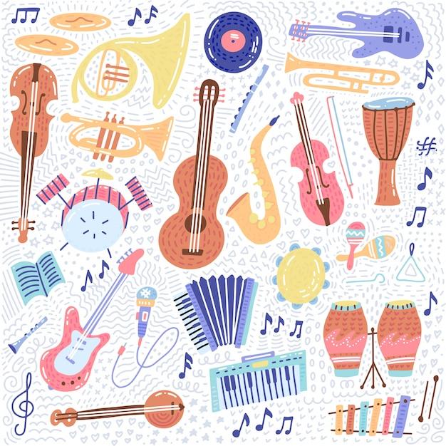 Big music establece colecciones de iconos de símbolos e instrumentos musicales Vector Premium