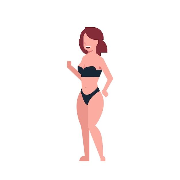 3729a28d32 Bikini mujer bailando traje de baño negro Vector Premium