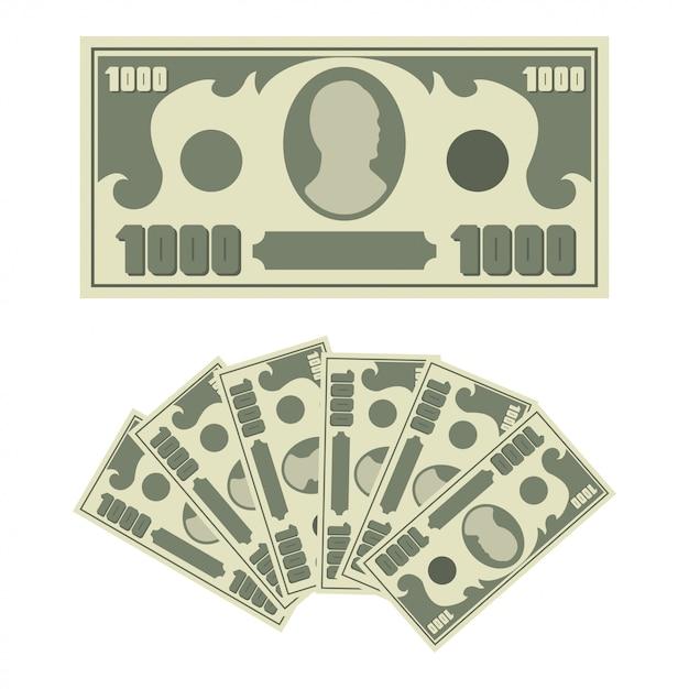 Billete de 1000 dólares y abanico de dinero en efectivo. iconos de billetes simples planos aislados sobre fondo blanco. Vector Premium