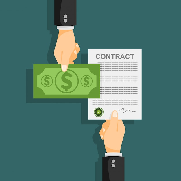 Billete de dólar concepto de contrato ilustración vectorial. Vector Premium