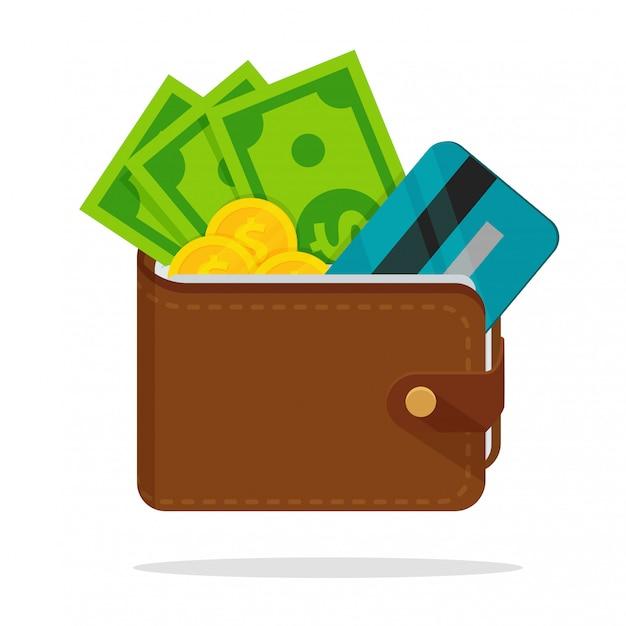 Billetera con mucho dinero en dólares. con tarjetas de crédito separadas. |  Vector Premium
