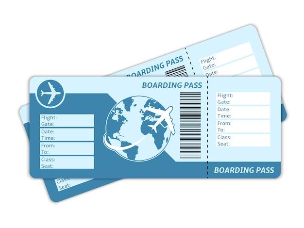 Billetes de avión en blanco vector gratuito