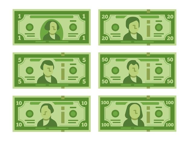 Billetes de dólar de dibujos animados. conjunto Vector Premium