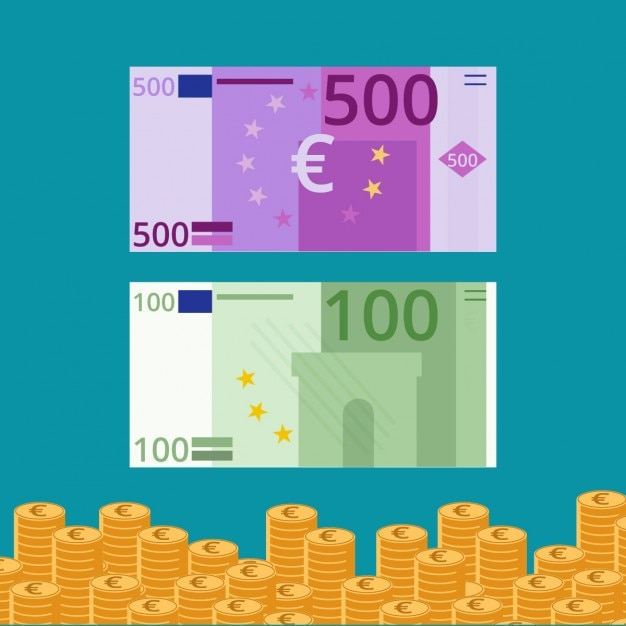 Billetes y monedas de euro en diseño plano vector gratuito