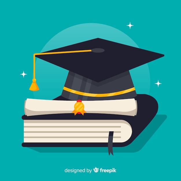 Birrete de graduación y diploma con diseño plano  a5b5f468117
