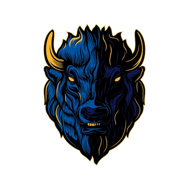 Bison head creative Vector Premium