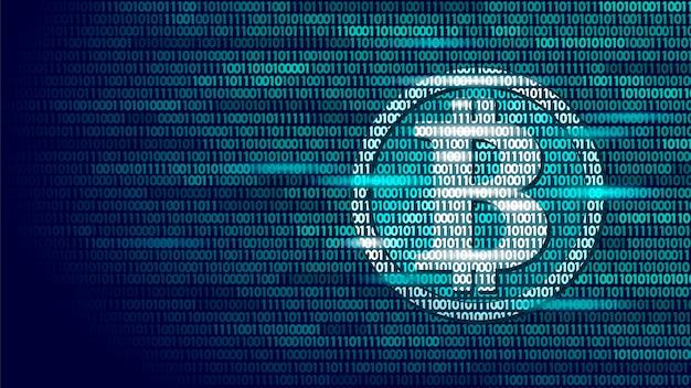 Bitcoin digital cryptocurrency sign número de código binario, big data Vector Premium