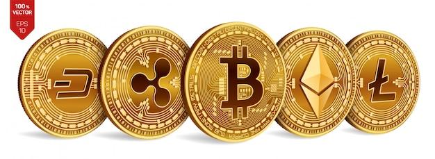 Bitcoin onda. ethereum guión, correr precipitadamente, precipitarse, ir de prisa. litecoin monedas físicas en 3d. criptomoneda Vector Premium