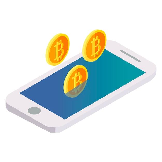 Bitcoin vuela fuera del teléfono vector gratuito