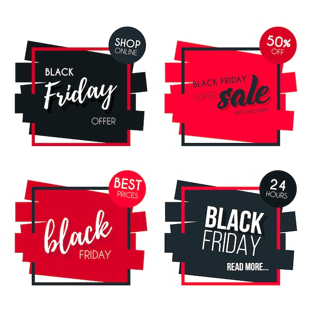 Black friday banner collection vector gratuito