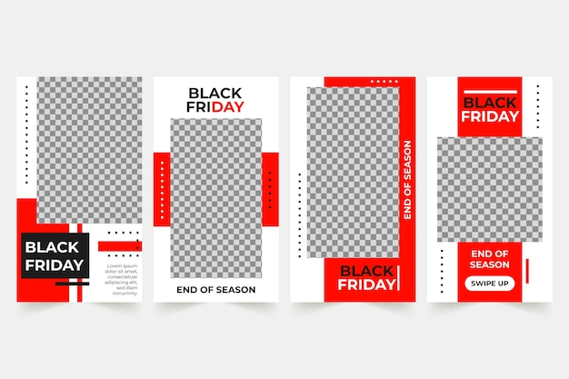Black friday colección de historias de instagram vector gratuito