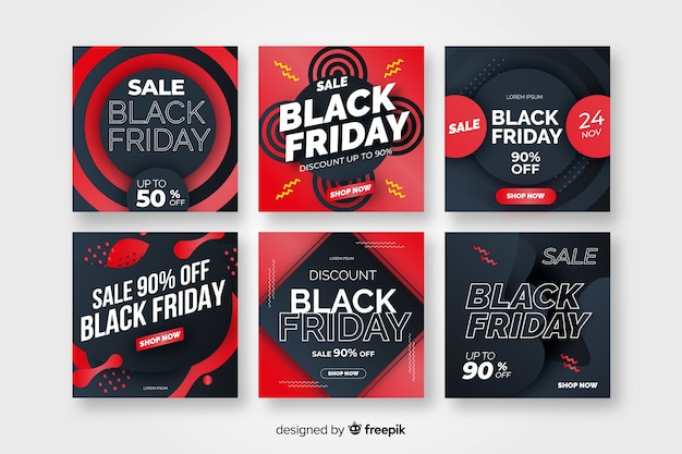Black friday instagram post collection vector gratuito