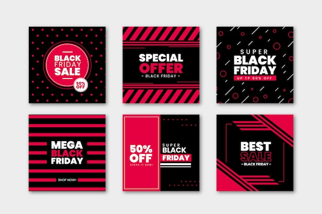 Black friday instagram post collection vector gratuito