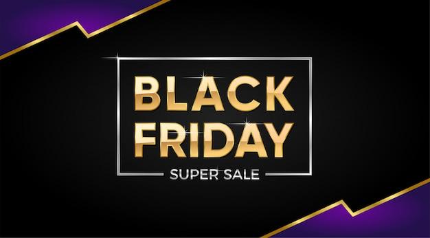 Black friday super sale banner con texto dorado. Vector Premium