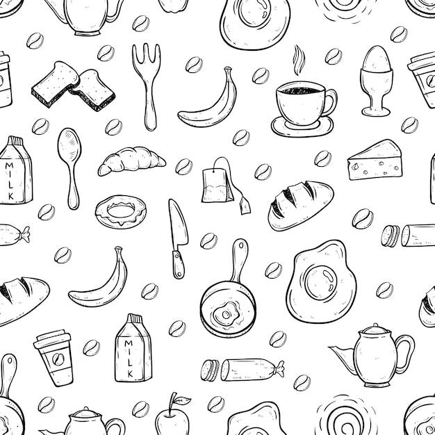 2ccd72fb7 Blanco y negro doodle comida sana en patrones sin fisuras Vector Premium