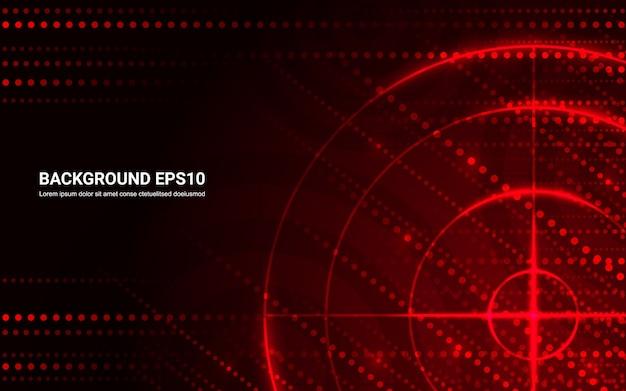 Blanco rojo abstracto, rango de tiro en fondo negro. Vector Premium