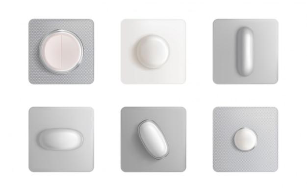 Blister de pastillas, tabletas medicinales y cápsulas vector gratuito