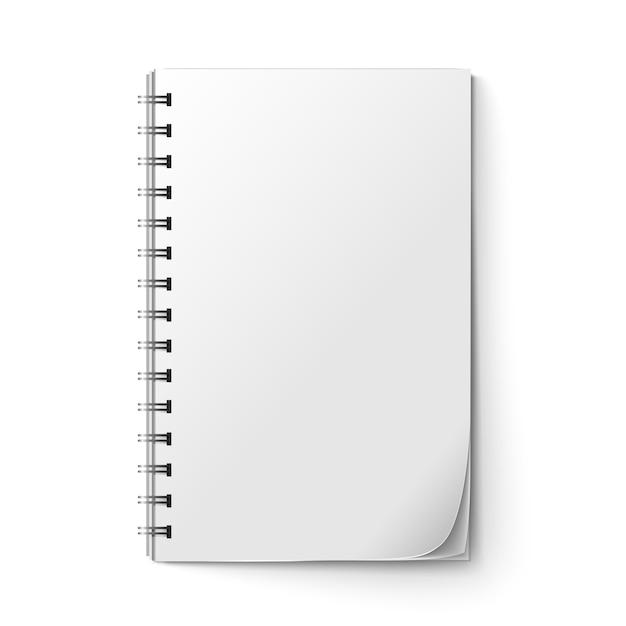 Bloc de notas realista en blanco vector gratuito