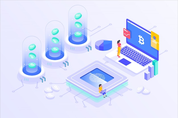 Blockchain cryptocurrency bitcoin mining servidor en línea isométrico vector illustartion diseño Vector Premium