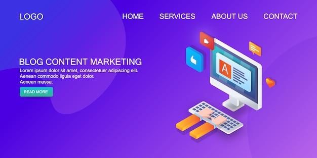 Blog de marketing de contenidos Vector Premium