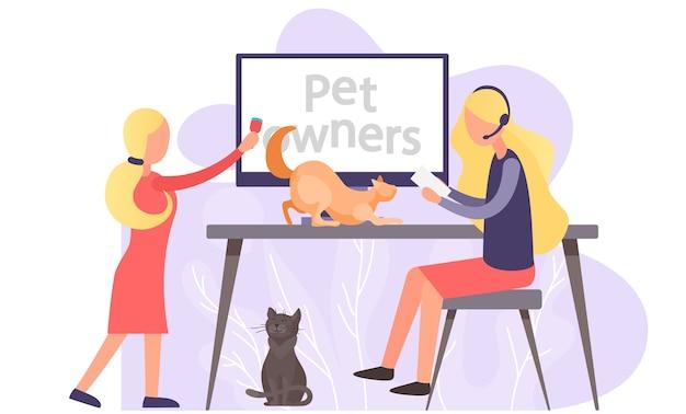 Blog de video para dueños de mascotas, mujeres cerca de la pantalla de la computadora con un tutorial sobre cómo tener gatitos en casa. Vector Premium