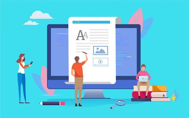 Blogger. escritura creativa. Vector Premium