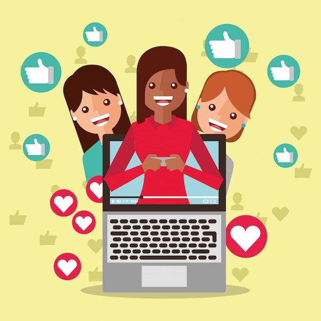 Blogger mujer en la pantalla contenido viral personas seguidores como amor Vector Premium