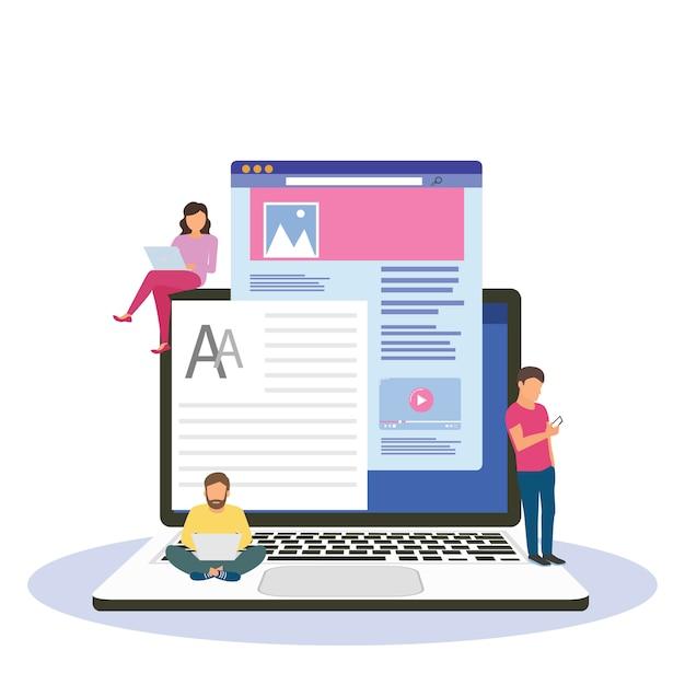 Blogging, blogger. lanza libre. escritura creativa. copia escritor. gestión de contenido. ilustración plana de dibujos animados en miniatura Vector Premium