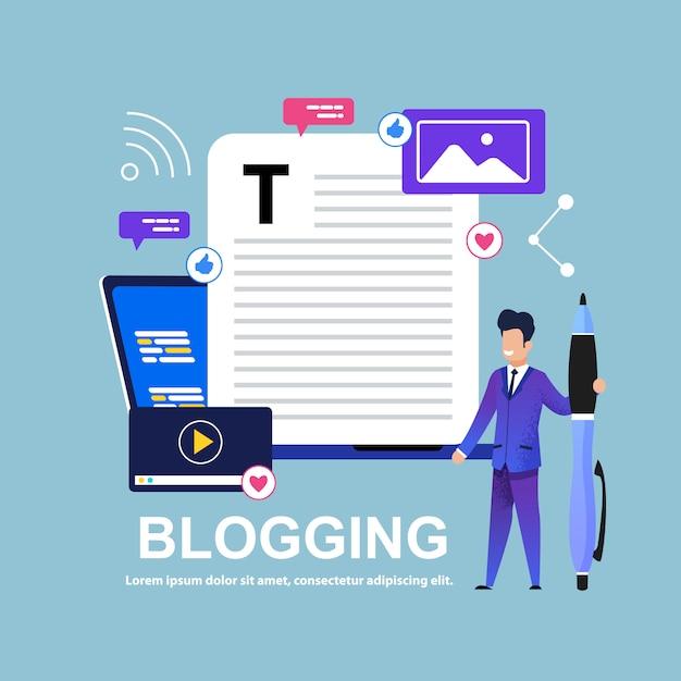 Blogging hombre con pluma grande. historia interesante. Vector Premium
