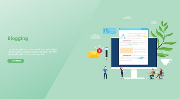 Blogging o concepto creativo de blog con computadora portátil y desarrollo de contenido con personas del equipo para la página de inicio de la plantilla del sitio web Vector Premium