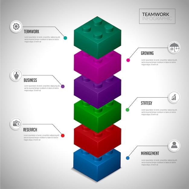 Bloque concepto de infografía trabajo en equipo. Vector Premium