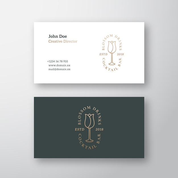 Blossom drinks cocktail bar abstract vector logo y plantilla de tarjeta de visita vector gratuito