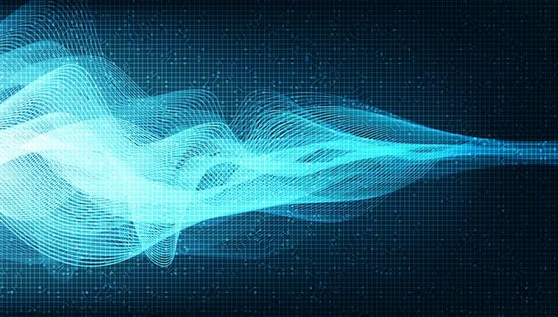 Blue digital sound wave y concepto de onda sísmica, diseño para estudio de música y ciencia Vector Premium