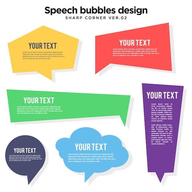Bocadillo de colores burbuja ilustración de esquina aguda Vector Premium