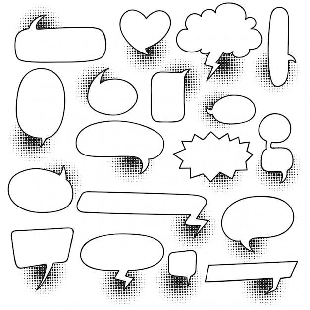 Bocadillo de diálogo cómico conjunto con sombra de semitono Vector Premium