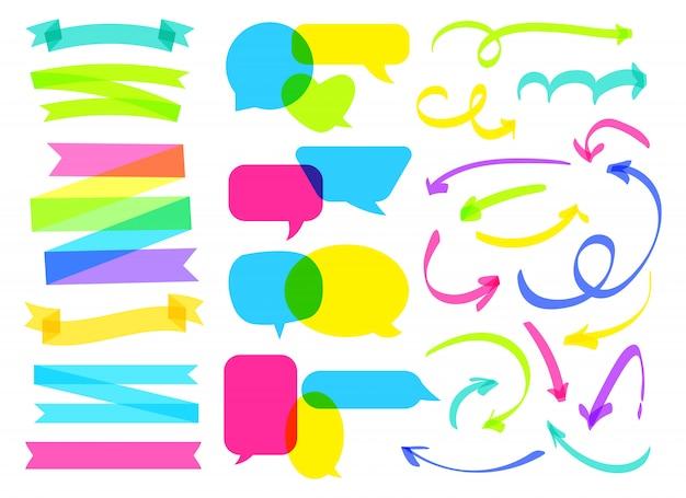 Bocadillo de diálogo cómico superpuesto, cinta, conjunto de flecha. sobreimprimir línea de marcador resaltador dibujado a mano Vector Premium