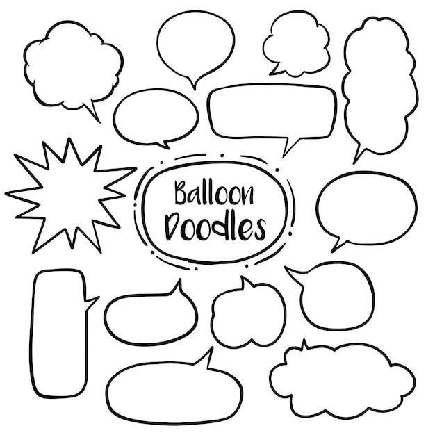 Bocadillo de diálogo con garabatos dibujados a mano Vector Premium