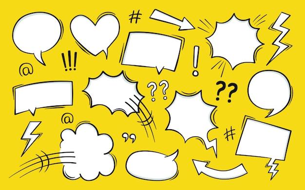 Bocadillo de diálogo de texto de cómic en estilo pop art con semitonos y rayos. Vector Premium