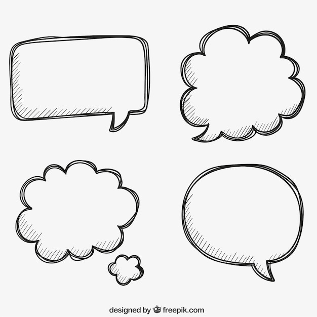 Bocadillos de habla dibujados a mano Vector Premium