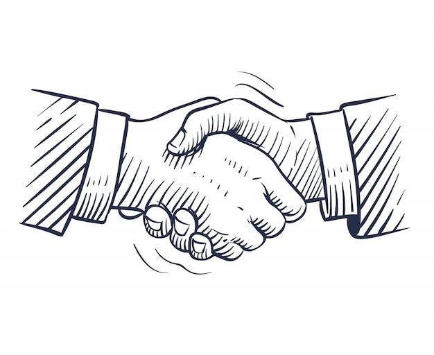 Boceto apretón de manos. doodle apretón de manos con manos humanas aisladas. trato profesional, cooperación empresarial Vector Premium