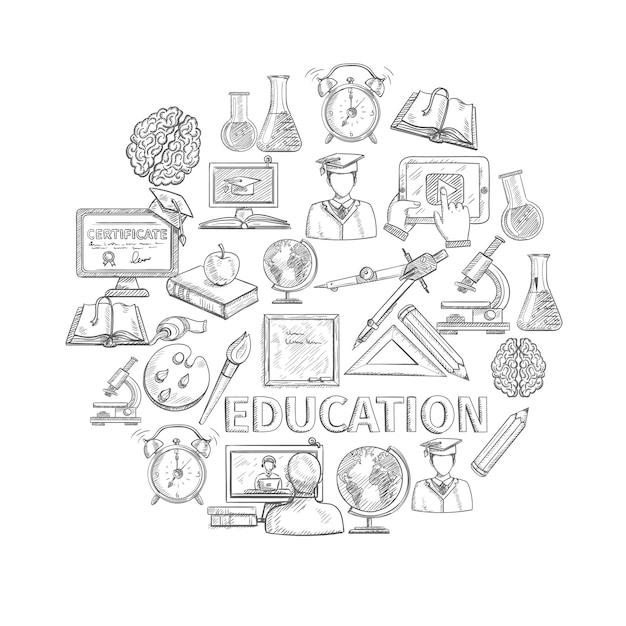 Boceto del concepto de educación con los iconos de estudio de la escuela y la universidad vector gratuito