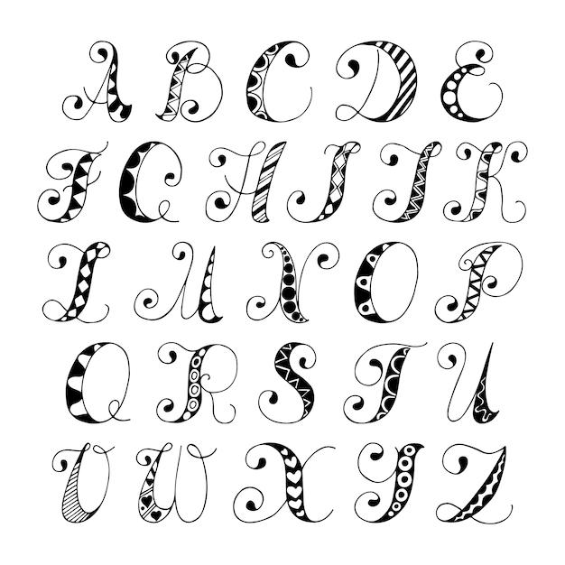 Boceto dibujado a mano alfabeto letras de fuente en blanco y negro ...