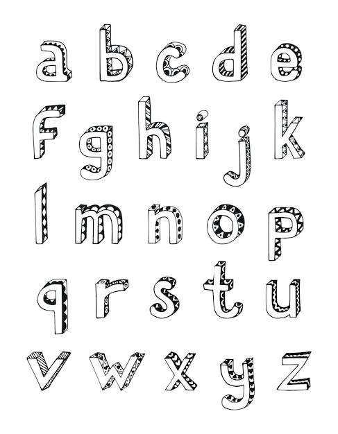 Boceto Dibujado A Mano 3d Alfabeto De Letras Minusculas Pequenas