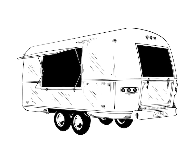 Boceto dibujado mano de camión de comida en negro Vector Premium