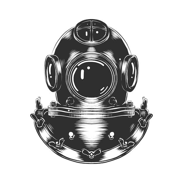 Boceto dibujado a mano del casco de buceo en monocromo Vector Premium